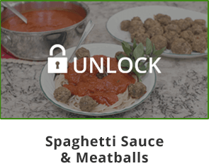 Unlock Mama Z's Spaghetti Sauce & Meatballs Video