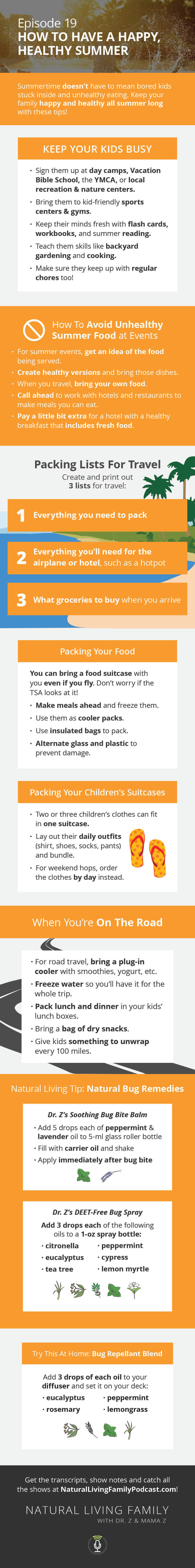Healthy, Happy Summer Tips Kids, Picnics, Traveling and More - Podcast Episode 19 Infographic