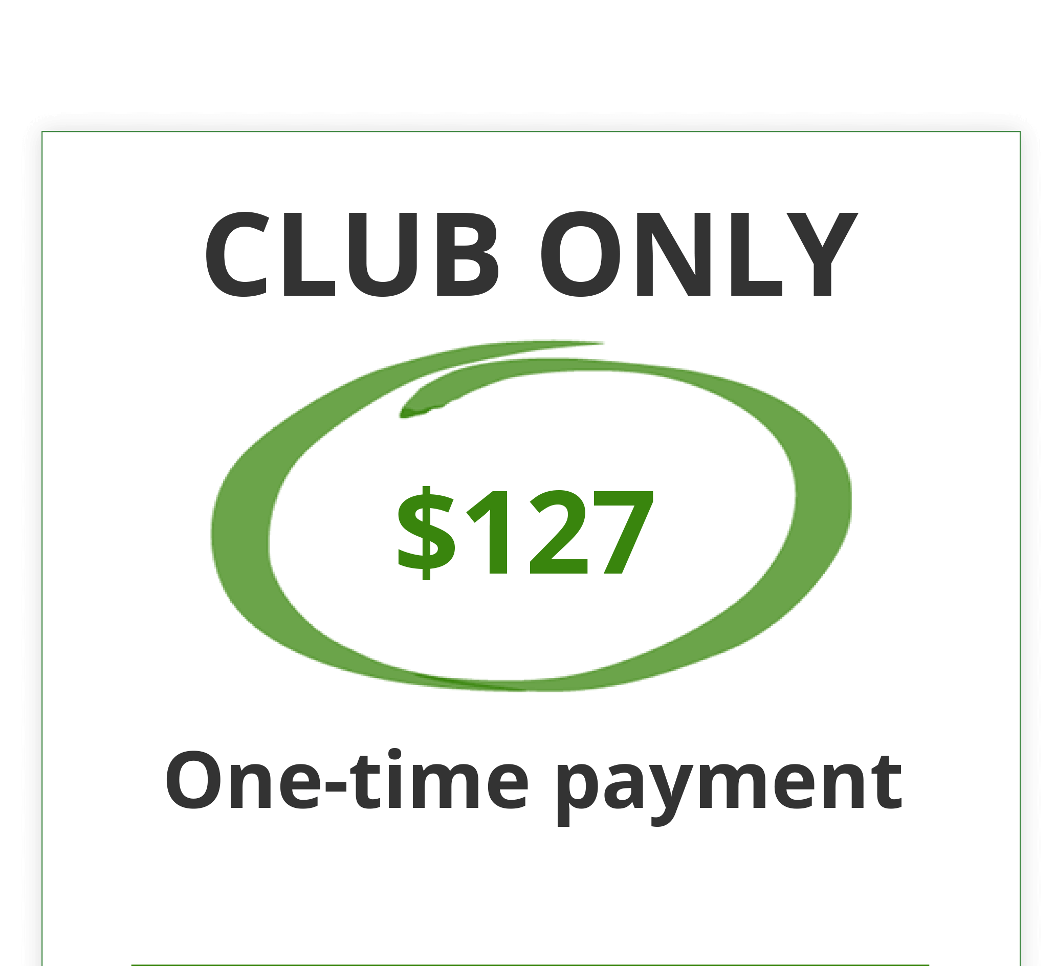Club Only Pricing Chart